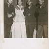 """Entertainers Flournoy Miller, Josephine Baker, Noble Sissle and Edgar Battles, from the original New York cast of """"Shuffle Along,"""" meeting in Brussels, Belgium, where Sissle was performing a USO Camp Show production of the play for U.S. servicemen, between 1945 and 1946"""
