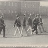 A royal church parade: The kaiser and his five eldest sons on their way from the palace to the Cathedral in Berlin.