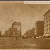 View of Madison Square; Fifth Avenue Hotel; Pach Bros Photographers; horse drawn ice wagon; man riding horse