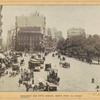 Fifth Avenue Hotel; General Worth Square; Madison Square Park; horse drawn vehicles and electric streetcars