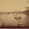 "View of Manhattan from Brooklyn; ""Fulton"" ferry boat; sailboats"