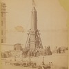 """The obelisk """"Cleopatra's Needle"""" crated and machinery attached for lowering"""