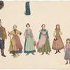 Tevye, Golde, and daughters