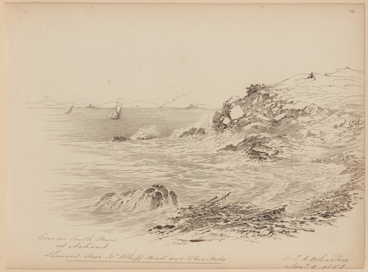 This is What Thomas Kelah Wharton and Cove on South Shore at Nahant Looked Like  on 11/1/1853