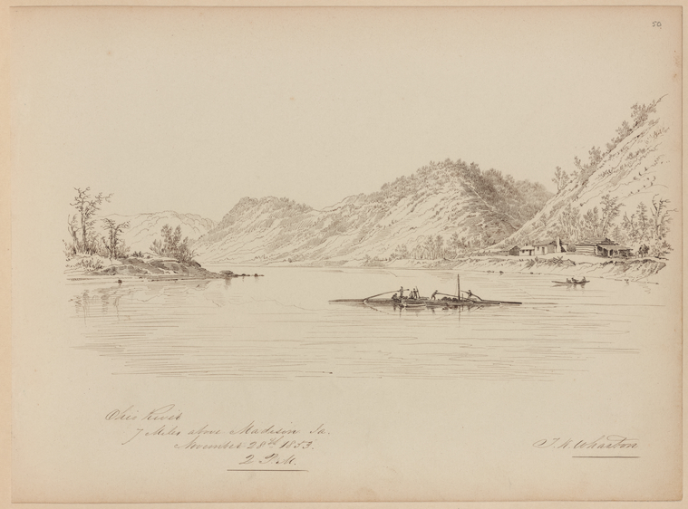 This is What Thomas Kelah Wharton and Ohio River 7 miles above Madison La Looked Like  on 11/28/1853