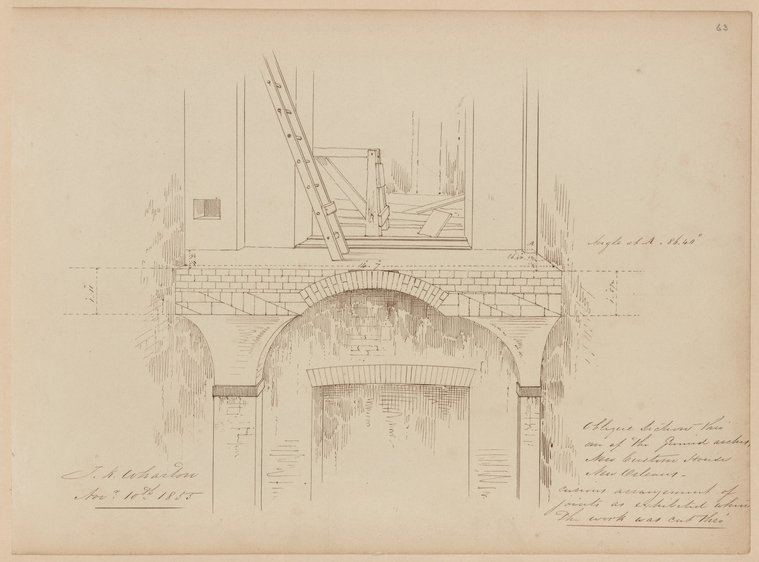 This is What Thomas Kelah Wharton and Oblique Section thro one of the ground arches New Custom House New Orleans. The work was cut thro Looked Like  on 11/10/1853