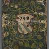 Back cover of manuscript painted with coat of arms of Lorenzo Moro