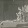 Scene from the stage production The Miracle (woman laying down, queen with baby on throne)