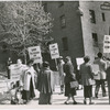 Parkchester Houses tenants picketing the pending eviction of the Decatur family, the only African Americans to ever live in the housing complex