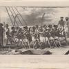 Baie houa-houa, naturels exécutant une danse à bord de l'Astrolabe
