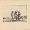 Trois soldats debout, leur pique à la main