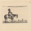 Un cavalieren marche, se dirigeant vers la droite