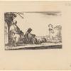 Deux pélerins assis et un paysan couché à plat ventre