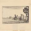 Deux cavaliers, tenant chacun une femme en croupe, font boire leurs chevaux dans une rivière