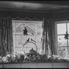 Windows with Halloween decorations