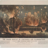 The grand display of fireworks and illuminations at the opening of the great suspension bridge between New York and Brooklyn on the evening of May 24th, 1883. View from New York, looking towards Brooklyn