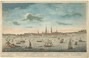 An east perspective view of the city of Philadelphia, in the province of Pensylvania, in North America; taken from the Jersey shore.