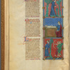 Three miniatures, with text, initials, linefillers fol. 9v