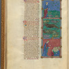 Three miniatures of plagues. With text, initials, linefillers fol. 41v