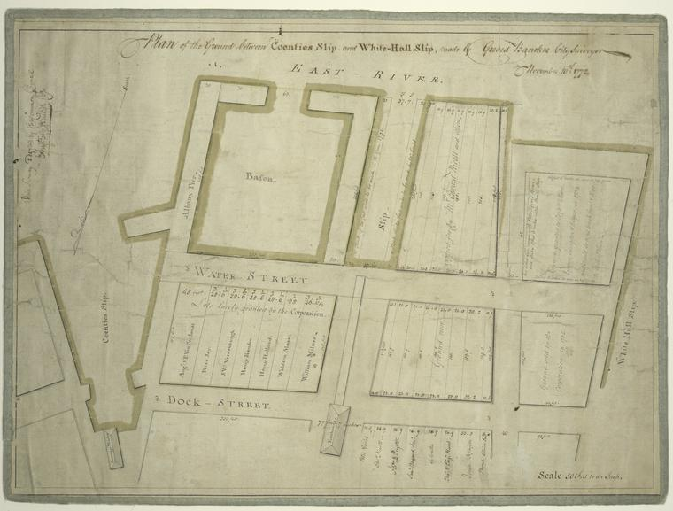 This is What Gerard Bancker and Plan of the ground between Coenties Slip and White-hall Slip Looked Like  in 1772