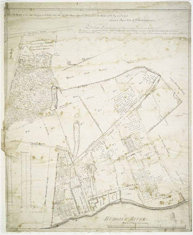No. 1 A map of the lands belonging to the estate of the late Sir Peter Warren lying at Greenwich in the outward of the city of New York.