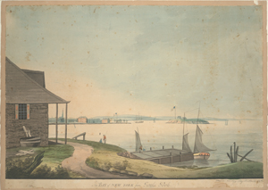 The bay of New York from Paulus Hook, Columbian Academy New York March 1796.