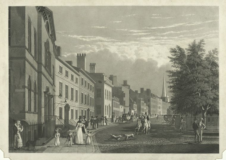 Broad Way from the Bowling Green / by W. J. Bennett, issued 1834.