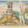 Laudonnierus et rex athore ante columnam a praefecto prima navigatione locatam quamque venerantur floridenses.]