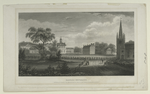 Harvard University, with the procession of the alumni from the church to the pavillion, September 8, 1836.