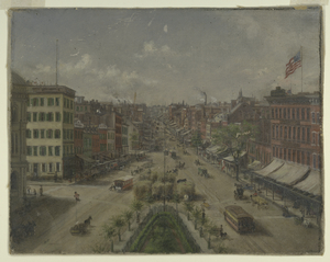 [The Bowery looking south from Cooper Union.]