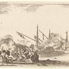 Combat entre plusieurs barques et galères