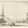 A gauche, une galère qui arrive dans le port