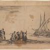 Au milieu, une chaloupe pleine d'hommes qui vont s'embarquer sur une galère qu'on voit à droite, à quelque distance