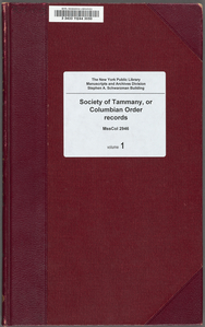 Society of Tammany, or Columbian Order records