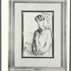 The young Yeats. A portrait of William Butler Yeats. Pen and ink sketch, glazed...