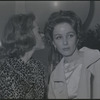 Jane Fonda in dressing room whispering to Brooke Hayward during opening night performance of the stage production There Was a Little Girl