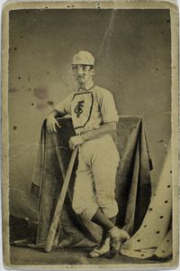 Robert Addy, Forest City, FC, Robert Addy in his Forest City Baseball uniform, about 1869. League Slide, Addy was one of the greatest pre-league and early league players. Spalding credits him with the first base slide.