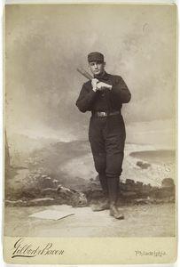 [Unidentified baseball player in dark uniform - batting form - bat on shoulder.]