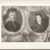 Older man with long white curly hair and older woman in headdress in separate portrait frames