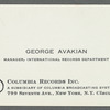 George Avakian's Columbia Records business card