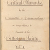 Critical remarks by the committee of examination on compositions &c presented to the Calliopean Society