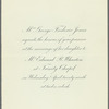 Invitation to the wedding ceremony of Edith Jones and Edward R. Wharton