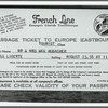 Passage ticket to Europe [for Mr. and Mrs. Max Hubacher]