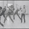 Choreographer Michael Peters (right) and musicians posed in rehearsal for the stage production Dreamgirls