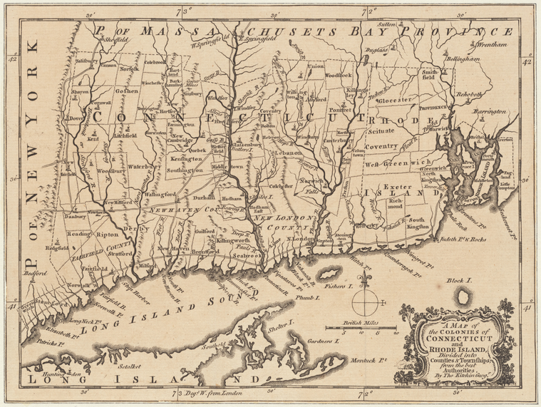 Map of Colonial Connecticut and its colonies.