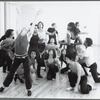 Ensemble of dancers in rehearsal for the stage production Cats