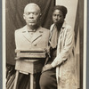 Selma Burke with her portrait bust of Booker T. Washington