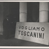 Ruined facade of Teatro alla Scala with Toscanini poster