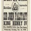 Broadside announcing Henry IV at Union Hall in Burlington, Iowa, featuring Benedict DeBar as Falstaff