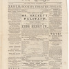 Issue of The Stage featuring front page advertisement for Henry IV at Booth's Theatre, featuring James Hackett as Falstaff, vol. 7, no. 102